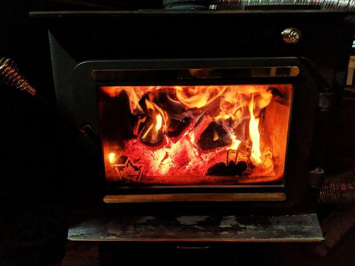 Close-up of bonfire at home