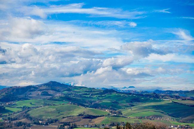 Springtime Marche Hills Sky Clouds Springtime