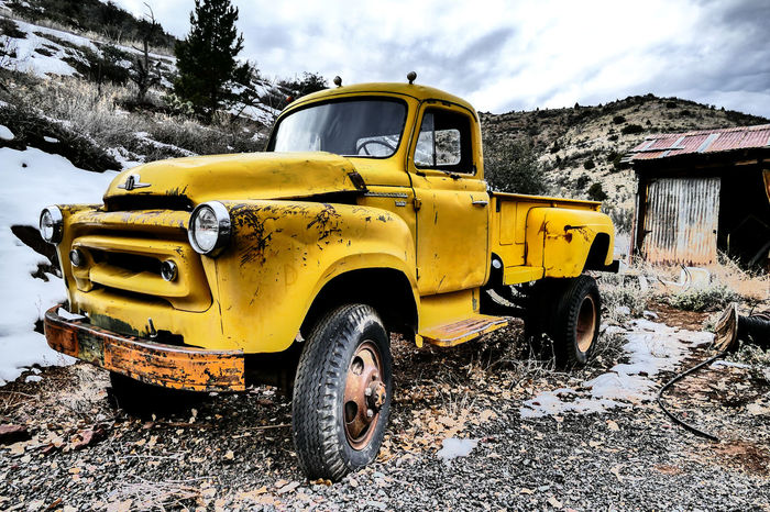 Bright Cloudy Old Fashioned Paint The Town Yellow Winter Abandoned Abandoned Vehicle Beat Up Contrast Metal Old Vehicle Scratched Truck Yellow