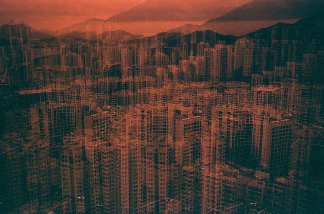Abstract Photography Aerial View Architecture Backgrounds Built Structure City City Life Cityscape Development Double Exposure Film Photography Full Frame Illuminated Modern No People Office Building Orange Color Residential Building Residential District Sky Skyscraper Sunset Tall - High Travel Destinations Urban Skyline