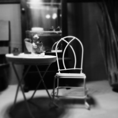 The little vision of the tiny house of Granny Zulema Table Indoors  Coffee Cup No People Coffee - Drink Focus On Foreground Chair