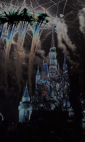 Filtered fireworks at Disney EyeEmNewHere Castle Cinderella Castle Disney Fireworks Negative Nightphotography Night Awe WOW Ooh Ahhh Amazing Light Show Princess Filter Illuminated Place Of Worship Religion No People Architecture Travel Destinations Built Structure Night Building Exterior Low Angle View Sky Outdoors