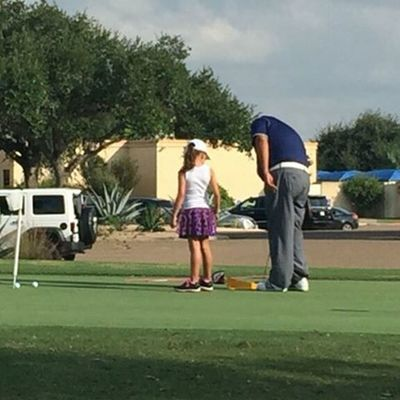 Baby girl taking golf lessons! The next lorena ochoa.