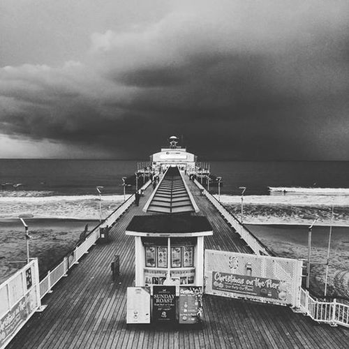 Beach Black & White Black And White Bournemouth Bournemouth Beach Bournemouth Pier Outdoors Pier Sea Sky Storm Storm Cloud Storm Clouds Water First Eyeem Photo