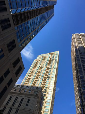 Architecture Blue Building Exterior Built Structure City Day Low Angle View Modern No People Outdoors Sky Skyscraper