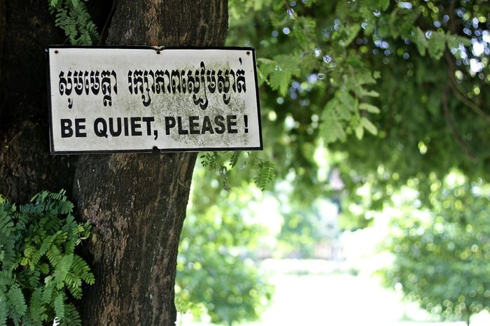 Be Quiet Be Quiet Please Be Quiet! Be Quite Close-up Communication Day Nature No People Outdoors Text Tree