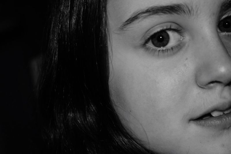 My daughter , my world Motheranddaughtertime Daughter Natural Beauty Edits Eyeemblack&white Blackandwhite Nikonphotography Looking At Camera Mouth Nose Eyes Hair Face Real People One Person Young Adult Looking At Camera Human Eye Close-up Human Face Portrait Lifestyles Indoors  Eyeball