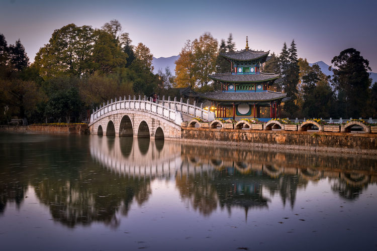 Black Dragon Pool Pagoda Chinese Architecture Pool Bridge - Man Made Structure Arc Bridge Tree History River Reflection Sky Architecture EyeEmNewHere Autumn Mood