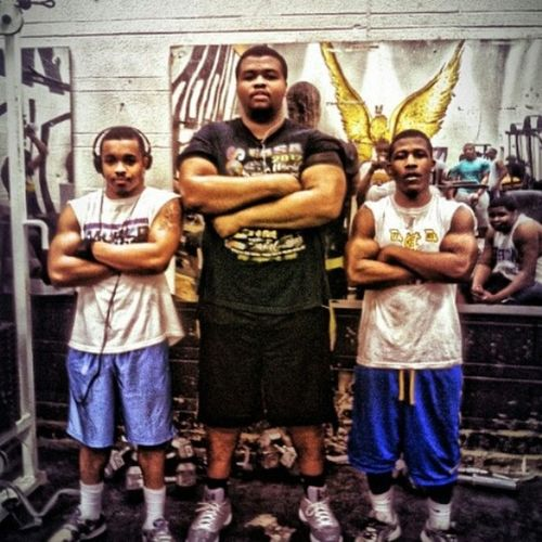 Me and my niggas in weight training #HawkNation #Class2014