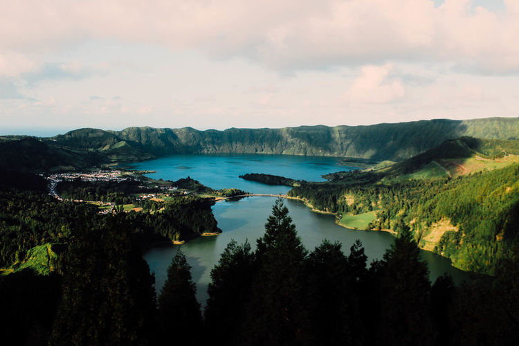 Water Landscape Cloud - Sky Tree Nature Sea Outdoors Travel Destinations Beauty In Nature No People Scenics Sky Vacations Beach Forest Day Horizon Over Water Azores, S. Miguel Azores Azores Islands Sete Cidades Sete Cidades Azores