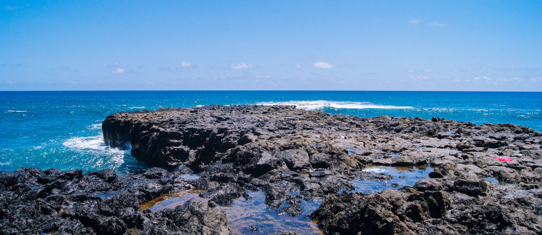 Reunion Island Coastline Indian Ocean Panorama Reunion Island Beach Beauty In Nature Blue Clear Sky Day Horizon Over Water Island La Réunion  Nature No People Outdoors Rock - Object Scenics Sea Sky Summer Tranquility Water Wave