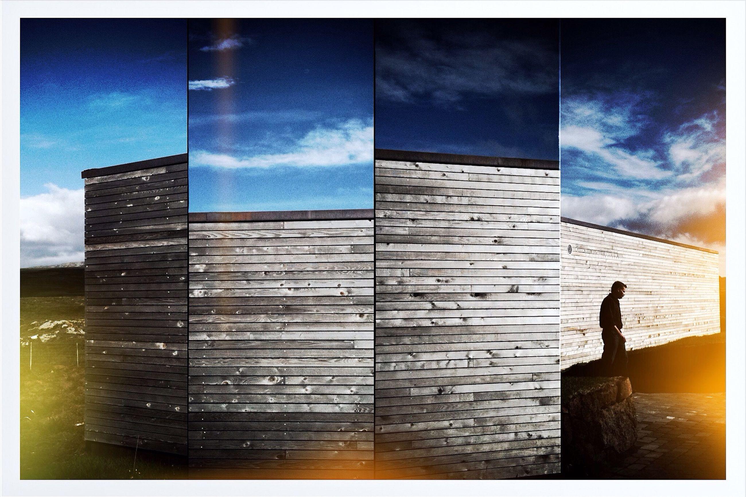 transfer print, auto post production filter, building exterior, sky, built structure, architecture, silhouette, cloud - sky, men, cloud, blue, city, low angle view, outdoors, full length, dusk, standing, building