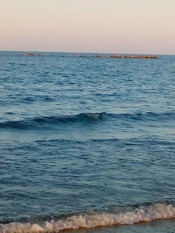 Water Sea Wave Beach Multi Colored Pastel Colored Blue Sunset Clear Sky Sand