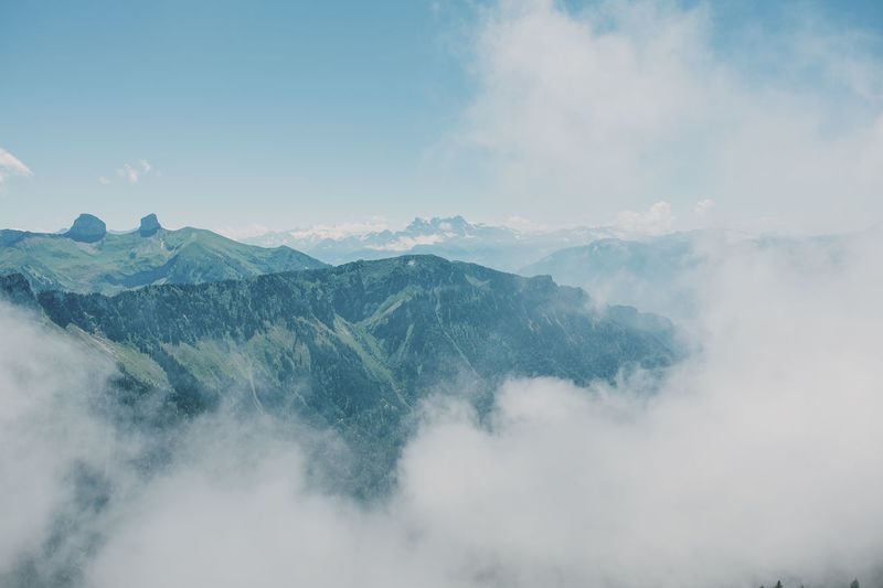 View of mountain range against cloudy sky