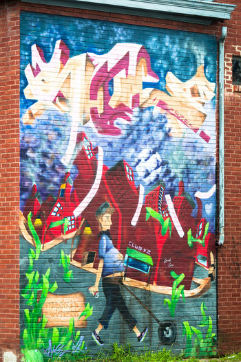 Richmond, VA USA Street Art Art Cartoonish Colorful Creativity Distorted Houses Eternity Is Indifferent Graffiti Multi Colored Quirky Street Art Wall Wall - Building Feature