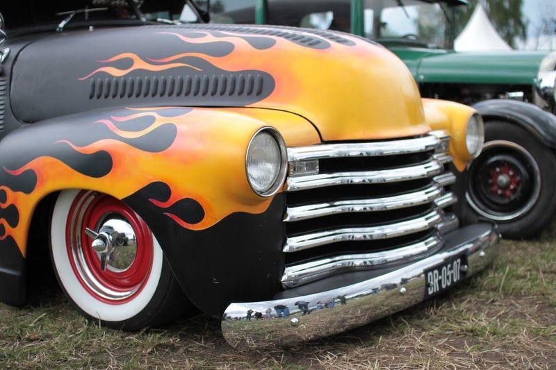 Close-up of multi colored car