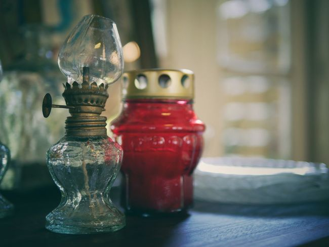 Back to the old day Vintage Still Life Retro Lighting Table Red Focus On Foreground Indoors  Container No People Glass - Material Personal Accessory Freshness Pattern Selective Focus Window Bottle Day Food And Drink Transparent Close-up Wood - Material Jar Still Life