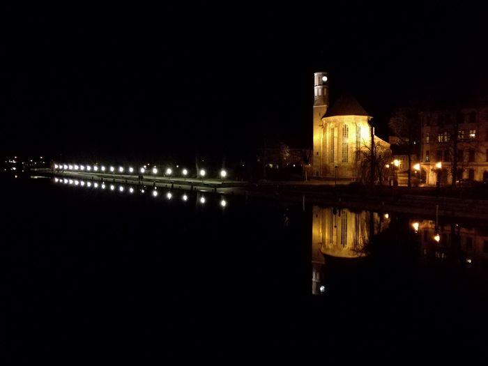 Reflection Illuminated Architecture City Outdoors Travel Destinations Water Night No People River GERMANY🇩🇪DEUTSCHERLAND@ Brandenburg Brandenburg By Night City By Night Church Church By Night