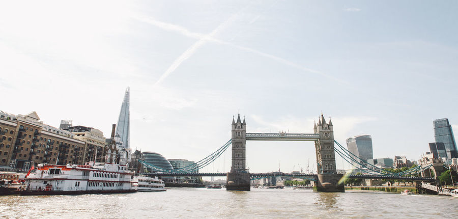 Architecture Bridge Bridge - Man Made Structure Built Structure Clear Sky Clouds Composition Connection Copy Space Development Engineering Famous Place International Landmark Long Outdoors Panorama Perspective Railing River Summer Sunny Suspension Bridge Thames The Shard, London Tower Bridge  EyeEm LOST IN London Your Ticket To Europe Lost In The Landscape Been There. Postcode Postcards