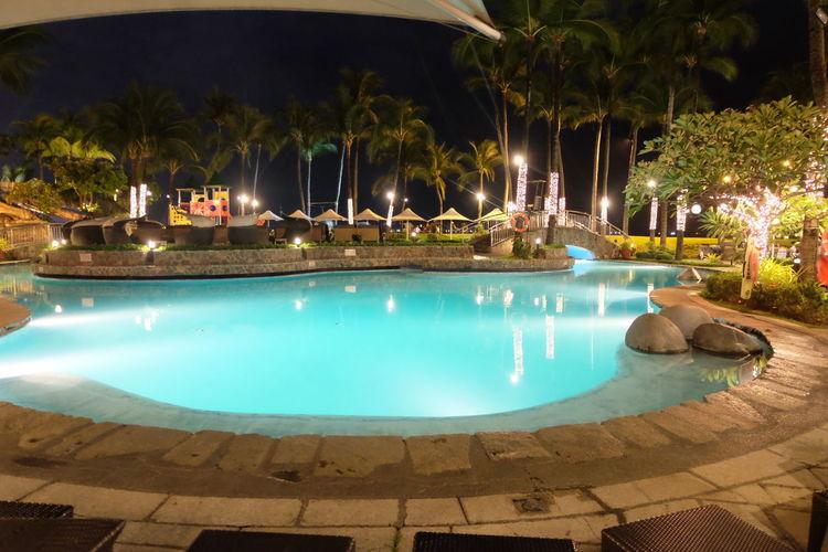 Swimming Pool Palm Tree Tree Water Luxury Blue No People Lifestyles Outdoors Landscape Architecture Lights Night Exterior Hotel Exterior Design Sofitelmanila Sofitel