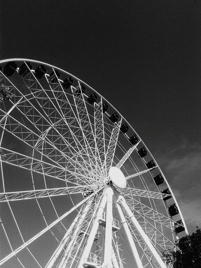 Ferris Wheel Blue Clear Sky Amusement Park Sky Low Angle View Arts Culture And Entertainment No People Big Wheel Outdoors Amusement Park Ride Spoke Semi-circle Day