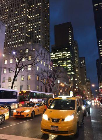 New York Taxi City Car Yellow Taxi Illuminated Skyscraper Building Exterior Traffic Night Taxi Transportation Street City Life City Street Road Modern