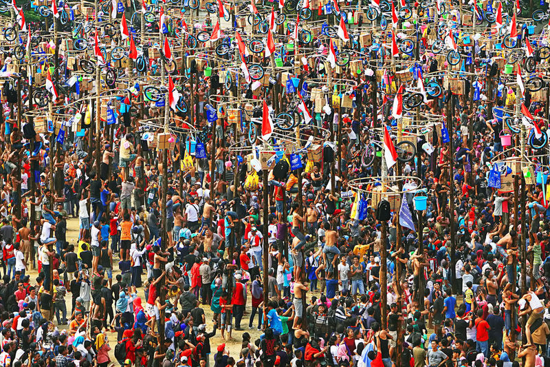 collosal pole climbing Collosal Indonesia Independence Crowded Group Of People High Angle View Indonesia Independen Day Large Group Of People Pole Climbing