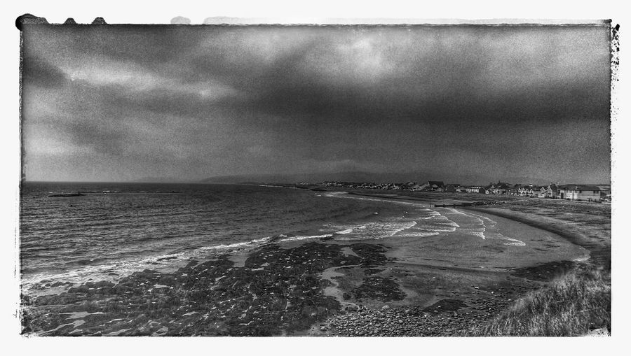 Borth, Wales Hinterland Sea And Sky Blackandwhite