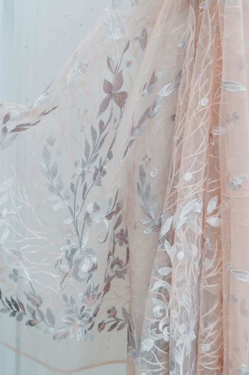 indoors, pattern, textile, white color, no people, floral pattern, close-up, clothing, full frame, backgrounds, hanging, transparent, still life, curtain, high angle view, plastic, dress, translucent, day, nature, clean