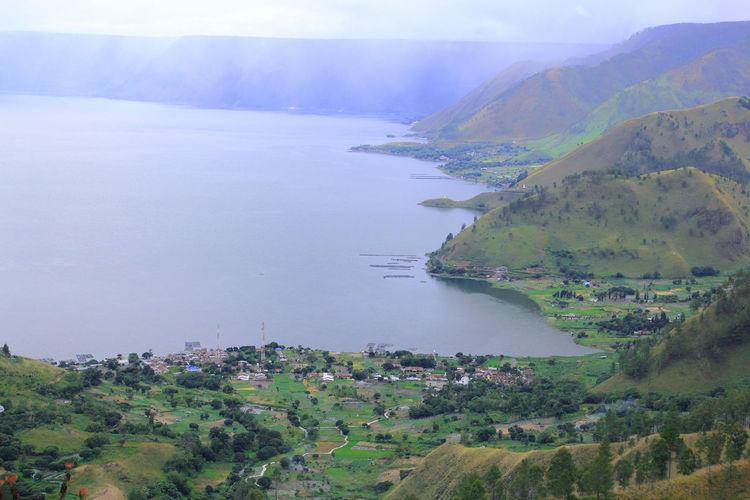 View of lake toba and tongging village, karo district, north sumatra, indonesian.