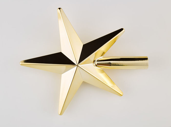 Studio Shot White Background No People Single Object Indoors  Shape Star Shape Cut Out Shiny Still Life Two Objects Gold Colored Yellow Close-up Copy Space High Angle View Holiday Design Reflection Decoration