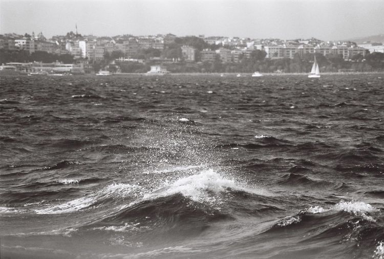 Sea Black And White Waves