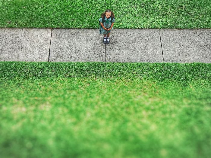 Grass Green Color Kids Child Eric Imbs Ericimbs IPhoneography Iphoneonly IPhone7Plus Waiting For The Bus