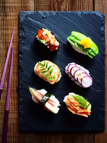 Vegetable Sushi Chopsticks Colorful Food Food And Drink Freshness Healthy Eating High Angle View Japanese Food Sushi Table Vegetables Vegetarian Food Visual Feast