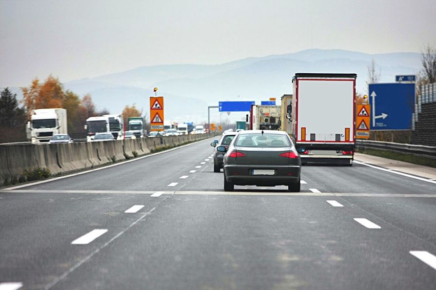 Motorway Car Auto Traffic View Travel Transport Transportation Truck Lorry Autobahn view Lane Asphalt