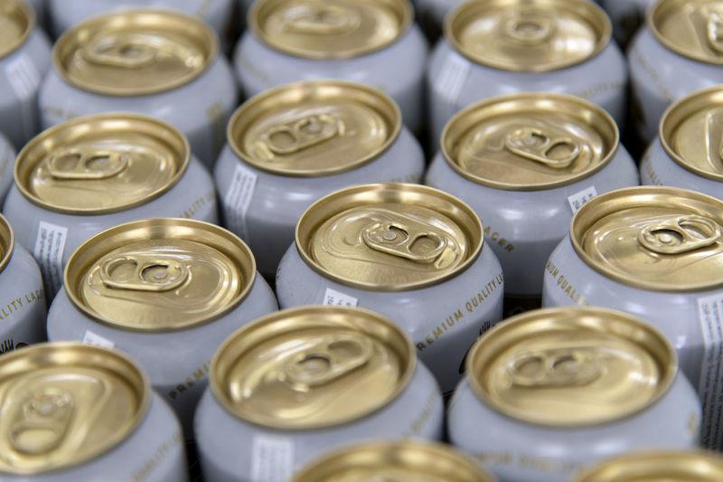 Full frame shot of drink cans