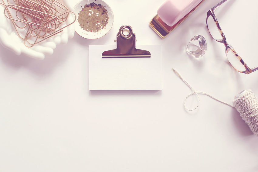 Take notes Background Chic Desk Top Feminine  Gold Office Supplies Note Cards Notes Office Over Head Pink Template Work