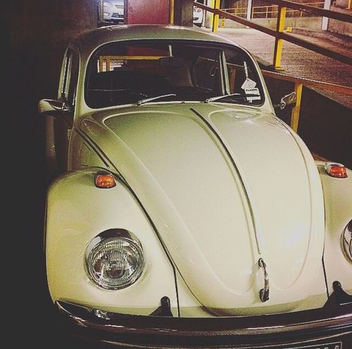 Garage Beetle VW Car Mode Of Transportation Motor Vehicle Land Vehicle Transportation Retro Styled EyeEmNewHere No People Vintage Car Headlight Shiny Metal Indoors  Auto Post Production Filter