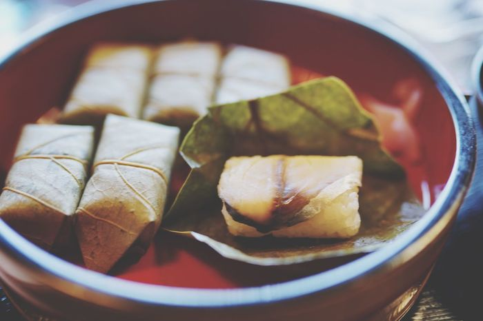 Food Healthy Eating Close-up Persimmon Leaf Mackerel Sushi Japan Yoshino Travel Musttry  Local Food