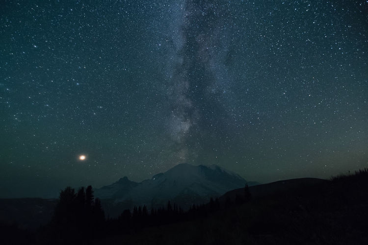 Scenic view of silhouette mountains against star field at night
