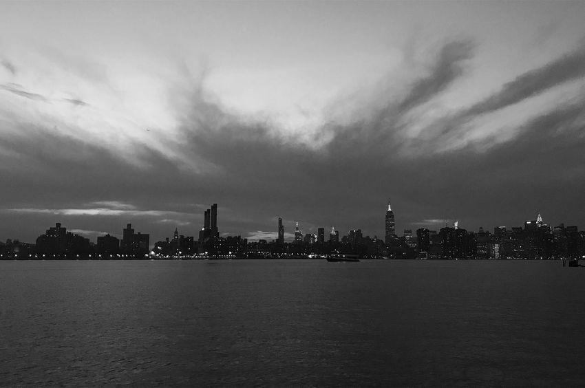 Manhattan NYC New York New York City Skyline City Urban Blackandwhite Bw Sunset Dusk Night Landscape Monochrome Buildings Lights Williamsburg Brooklyn Breathing Space