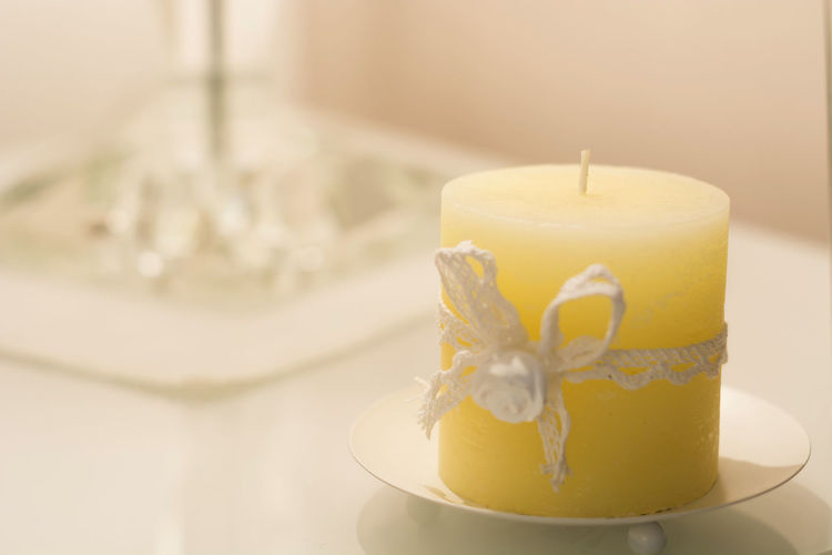 Close-Up Of Candle On Table