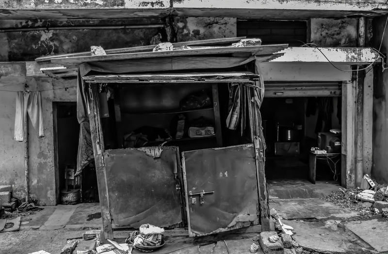 Monochrome Photography Rs20/hour. Not enough for a repair Destruction Poverty Bad Condition House Ironing Shop Daily Wages Damaged
