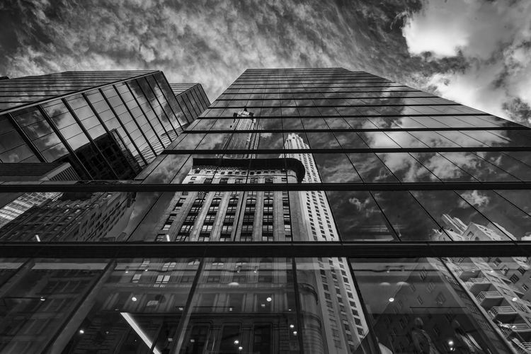 Modern Architecture Midtown Office Buildings Architecture Reflective Architecture Glass Architecture Reflections Perspective Black And White Skyscraper Building Exterior Office Building Exterior
