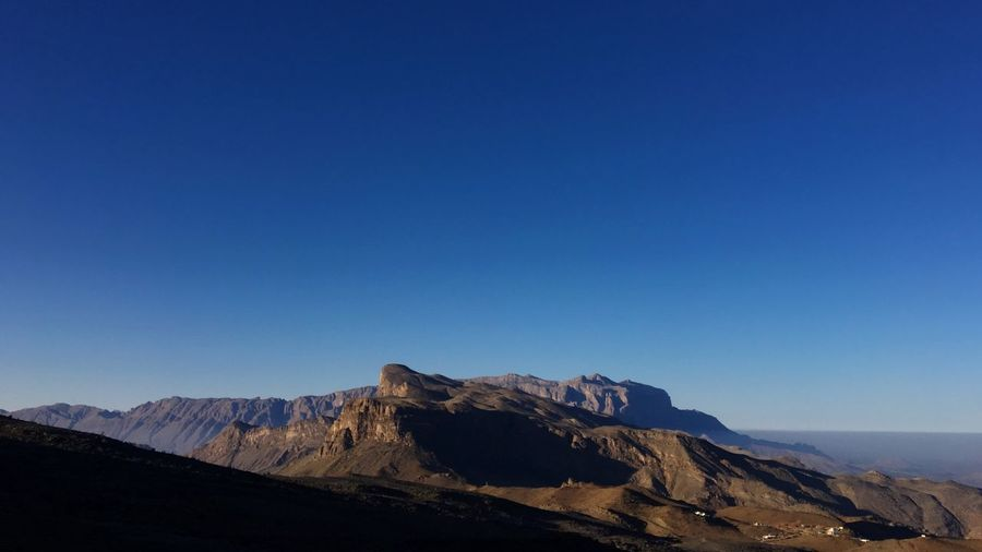 Scenic View Of Jebel Shams Against Clear Blue Sky
