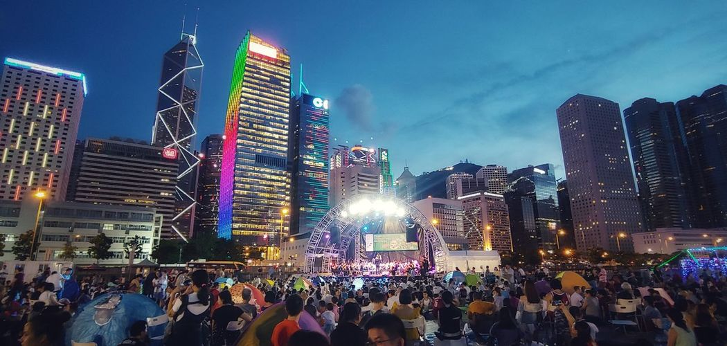 Classic Music HongKong Classical Music Night Building City Neon Crowd Cityscape Illuminated Urban Skyline Skyscraper Modern Holiday - Event Architecture
