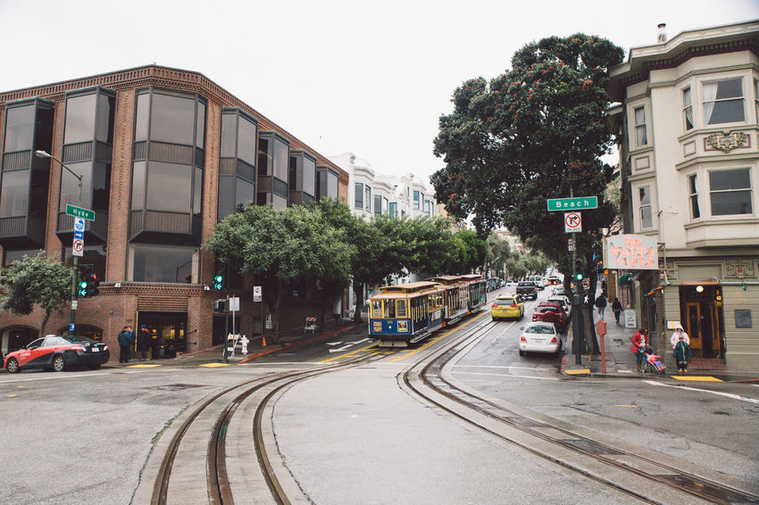 Architecture Building Exterior Built Structure Cable Car Car City City Clear Sky Cold Day Land Vehicle No People Outdoors Rainy Day Road Sky Spring Street Tram Transportation Tree Neighborhood Map California Dreamin