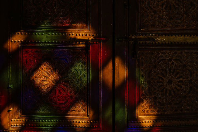 Marrakech Marrakesh Morocco Travel Destinations Tourist Attraction  No People Architecture Indoors  Art And Craft Multi Colored Built Structure Wood - Material Ornate Floral Pattern Creativity Craft Door Light Stained Glass