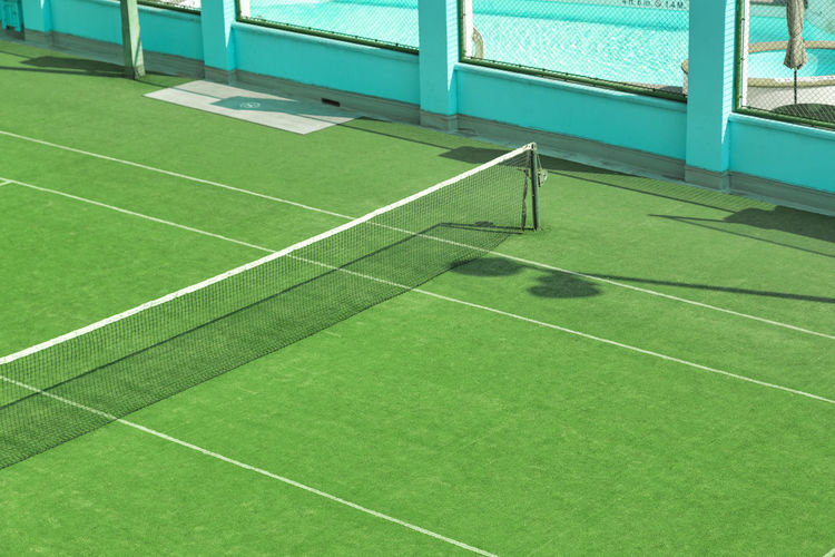 High angle view of empty tennis court
