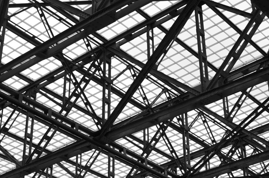Indoors  Low Angle View Pattern Full Frame Ceiling Architecture Day Built Structure Roof No People Backgrounds Modern Sky Abstract Photography Abstract City Industry Shadow Photography Outdoors Metal Industry Pipe - Tube